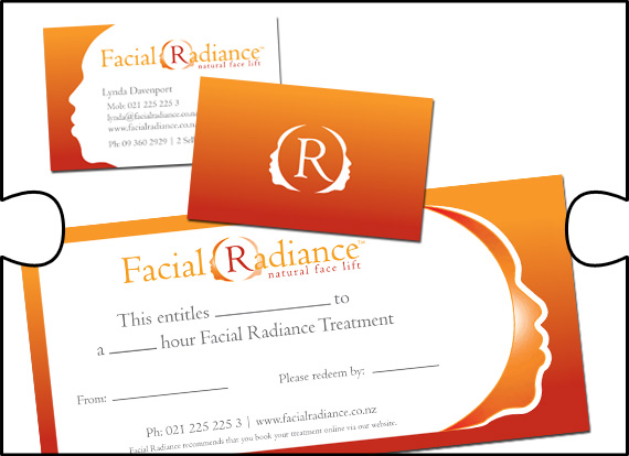 Jigsaw Design designed and organised printing for business cards, gift vouchers and promo cards for Facial Radiance